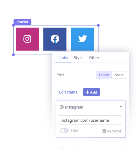 Insert Social Share or Follow buttons in Your Popup