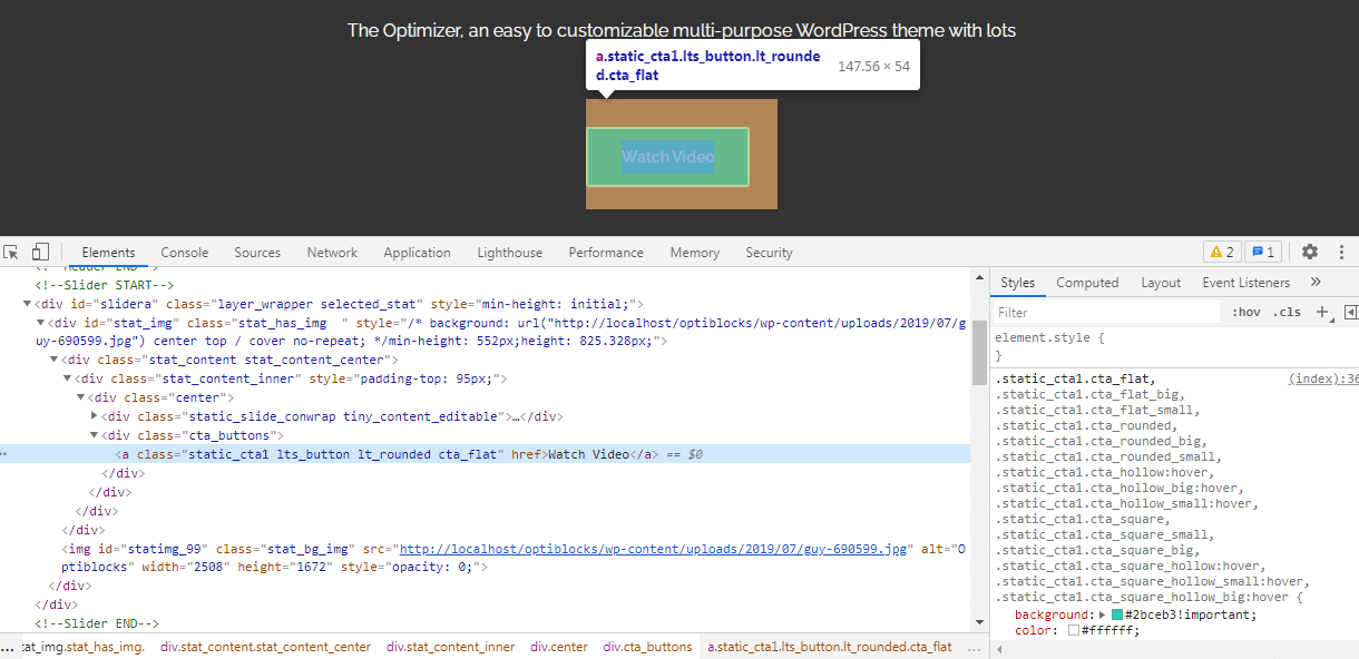 Inspect Element for Popup